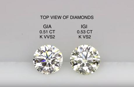 השוואה בין 2 יהלומים עם תעודות GIA ו-IGI